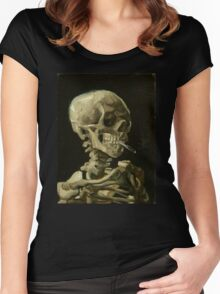 Vincent Van Gogh smoking skeleton Women's Fitted Scoop T-Shirt