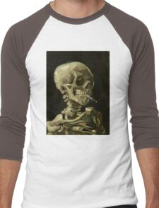 Vincent Van Gogh smoking skeleton Men's Baseball ¾ T-Shirt