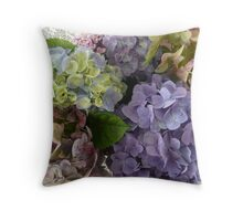 An Assortment of Mixed Colour Hydrangeas. Throw Pillow