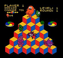 Q*Bert - Video Game, Gamer, Qbert, Orange, Black, Nerd, Geek, Geekery, Nerdy by CanisPicta