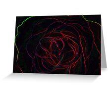 neon edged rose Greeting Card