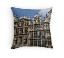 Postcard from Brussels - Grand Place Facades Throw Pillow