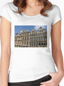 Postcard from Brussels - Grand Place Facades Women's Fitted Scoop T-Shirt