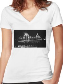 The Grotto - Black & White at Night Women's Fitted V-Neck T-Shirt