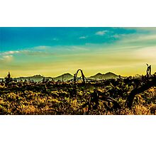 Three Sisters Mountains at golden hour  Photographic Print
