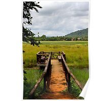 Cloudy sky on the rice field - Angkor, Cambodia. Poster