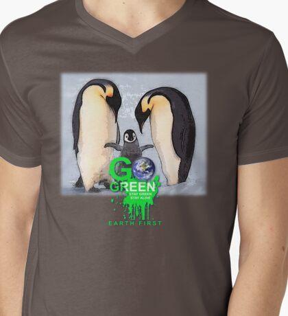 stay green penguin Mens V-Neck T-Shirt