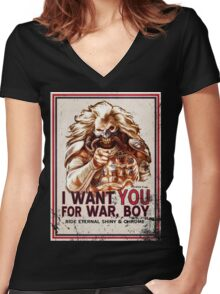 I Want YOU for WAR, BOY (dark colors) Women's Fitted V-Neck T-Shirt