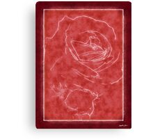 Pink Roses in Anzures 2 Outlined Red Canvas Print