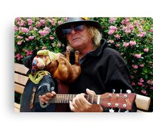Dachshund and Guitar man in Sausilito Canvas Print