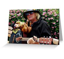 Dachshund and Guitar man in Sausilito Greeting Card