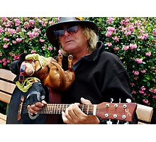 Dachshund and Guitar man in Sausilito Photographic Print