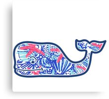 Vineyard Vines Whale w/ Lilly Pulitzer shells beach pattern she she shells Canvas Print