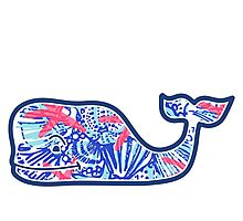 Vineyard Vines Whale w/ Lilly Pulitzer shells beach pattern she she shells Photographic Print