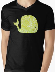 Whale: Yellow Mens V-Neck T-Shirt