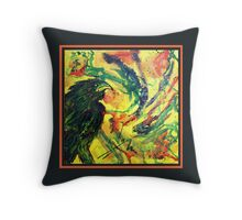 Scarf - Raven, Black Background Throw Pillow