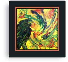 Scarf - Raven, Black Background Canvas Print