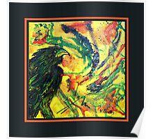 Scarf - Raven, Black Background Poster
