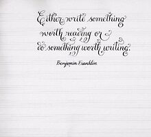 Inspirational Ben Franklin quote calligraphy by Melissa Goza