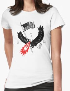FIRE BREATHING BALD EAGLE OF PATRIOTISM Womens Fitted T-Shirt