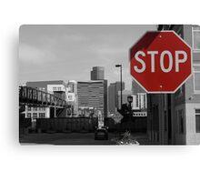 Denver Cityscape Stop Sign Canvas Print