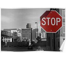 Denver Cityscape Stop Sign Poster
