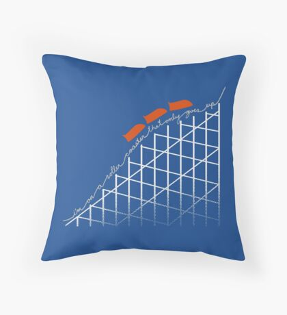 I'm On a Roller Coaster That Only Goes Up (Orange Cars) Throw Pillow