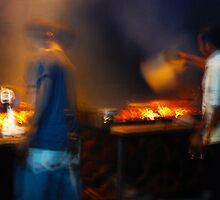 Grilling Fish in Northern Bali by Michael Brewer
