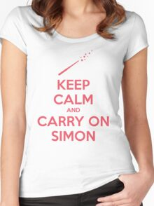 Keep Calm and Carry On Simon (Pink Text) Women's Fitted Scoop T-Shirt
