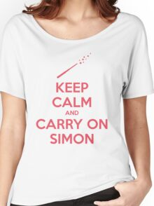 Keep Calm and Carry On Simon (Pink Text) Women's Relaxed Fit T-Shirt