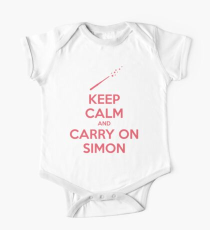 Keep Calm and Carry On Simon (Pink Text) One Piece - Short Sleeve