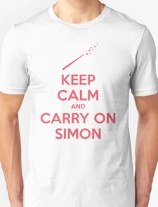 Keep Calm and Carry On Simon—Pink Text T-Shirt