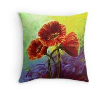 Red Poppy Trio Throw Pillow