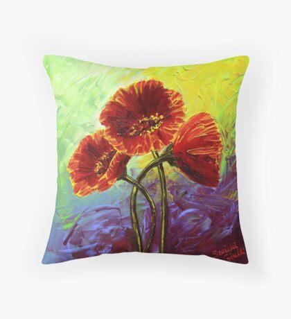 Red Poppy Trio Throw Pillow