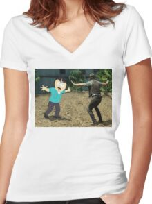 Jurassic World Randy Women's Fitted V-Neck T-Shirt