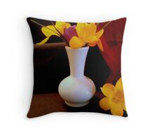 Bright Yellow in Vase   ^ Throw Pillow