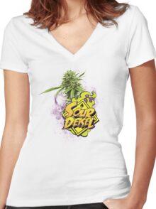 Sour Deisel Marijuana Strain Art Women's Fitted V-Neck T-Shirt