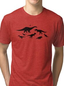 Black and White Dinosaur Pattern Tri-blend T-Shirt