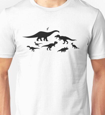 Black and White Dinosaur Pattern Unisex T-Shirt