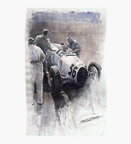 Auto Union B type 1935 Italian GP Monza B Rosermeyer Poster