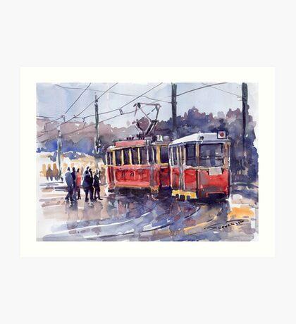 Prague Old Tram 01 Art Print