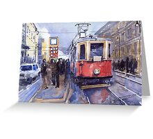 Prague Old Tram 03 Greeting Card