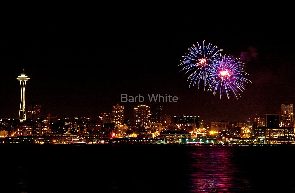 Fireworks in Seattle (with Space Needle) by Barb White