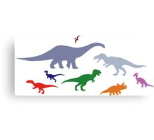Colorful Dinosaurs Pattern (Light) Canvas Print