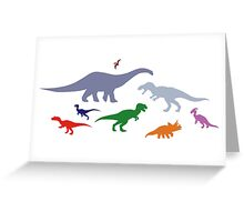 Colorful Dinosaurs Pattern (Light) Greeting Card