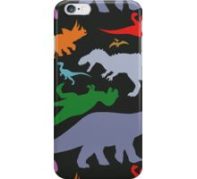 Colorful Dinosaurs Pattern (Dark) iPhone Case/Skin