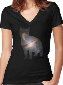 Cat Space Women's Fitted V-Neck T-Shirt