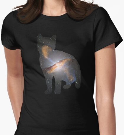 Cat Space Womens Fitted T-Shirt