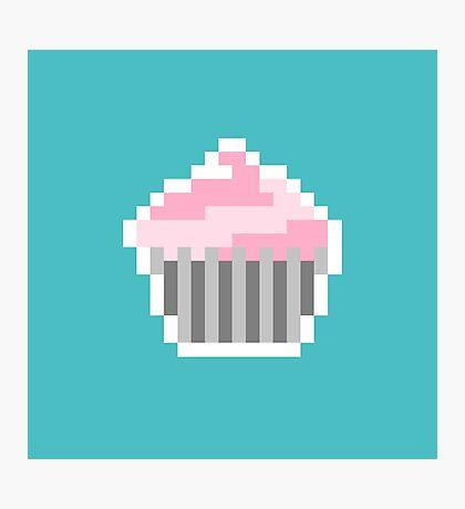 Pink Pixel Cupcake Photographic Print