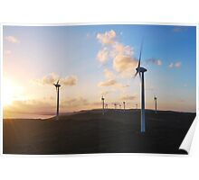 Sunset over the Albany Wind Farm Poster
